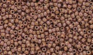 "Matubo Seed Bead 11/0 Tube 2.5"" : Luster - Opaque Rose/Gold Topaz"