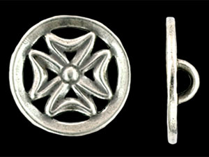 Cross Pattée Button 17mm : Antique Silver
