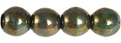 Round Beads 6mm (loose) : Turqoise - Bronze Picasso