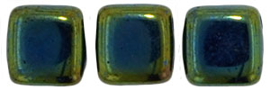 CzechMates Tile Bead 6mm (loose) : Iris - Green