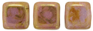 CzechMates Tile Bead 6mm (loose) : Luster - Opaque Rose/Gold Topaz