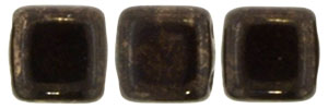 CzechMates Tile Bead 6mm (loose) : Gold Marbled - Jet