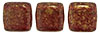 CzechMates Tile Bead 6mm (loose) : Gold Marbled - Ruby