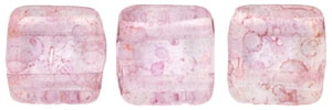 CzechMates Tile Bead 6mm (loose) : Luster - Transparent Topaz/Pink