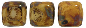 CzechMates Tile Bead 6mm (loose) : Opaque Lt Beige - Picasso
