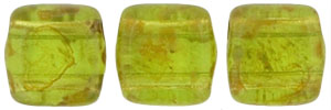CzechMates Tile Bead 6mm (loose) : Olivine - Picasso