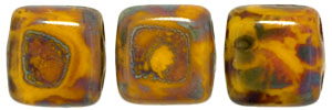 CzechMates Tile Bead 6mm (loose) : Opaque Yellow - Picasso
