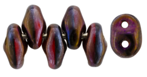 SuperDuo 5 x 2mm (loose) : Full Brown Flare - Opaque Red/Black