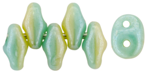SuperDuo 5 x 2mm (loose) : White Luster - Turquoise Green/Ivory