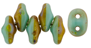 SuperDuo 5 x 2mm (loose) : Turquoise Green/Ivory - Picasso