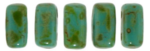CzechMates Bricks 3/6mm (loose) : Persian Turquoise - Picasso