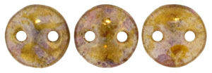 CzechMates Lentil 6mm (loose) : Luster - Transparent Gold/Smokey Topaz