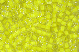 Matubo Seed Bead 6/0 (loose) : Crystal - Yellow Neon-Lined