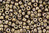 Matubo Seed Bead 6/0 (loose) : Luster - Opaque Gold/White