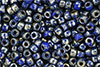 Matubo Seed Bead 6/0 (loose) : Opaque Blue - Silver Picasso