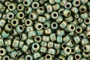 Matubo Seed Bead 6/0 (loose) : Green Turquoise - Silver Picasso