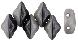 GEMDUO 8 x 5mm (loose) : Grey Luster - Opaque Black/White