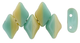 GEMDUO 8 x 5mm (loose) : Turquoise Green/Ivory