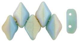 GEMDUO 8 x 5mm (loose) : Matte - Turquoise Green/Ivory