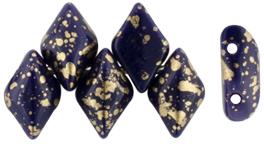 GEMDUO 8 x 5mm (loose) : Gold Splash - Navy Blue