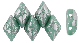 GEMDUO 8 x 5mm (loose) : Silver Splash - Opaque Turquoise