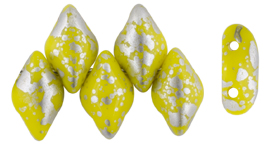 GEMDUO 8 x 5mm (loose) : Silver Splash - Opaque Yellow