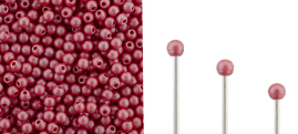 Finial Half-Drilled Round Bead 2mm : Metal Luster - Opaque Red