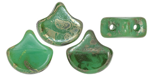 Matubo Ginkgo Leaf Bead 7.5 x 7.5mm (loose) : Opaque Turquoise - Rembrandt