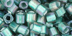 TOHO - Cube 4mm : Inside-Color Frosted Crystal/Metallic Teal-Lined