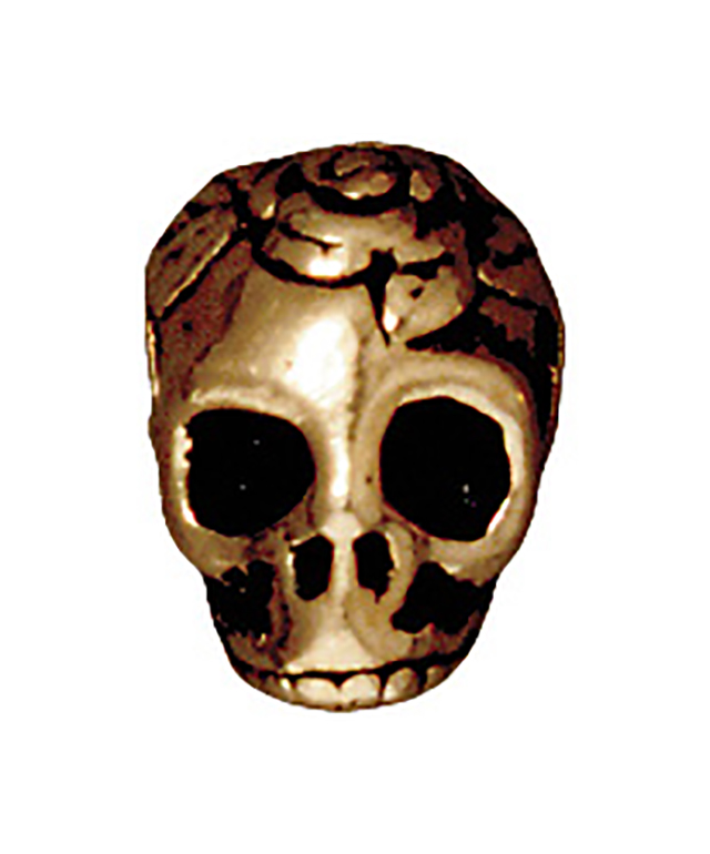 TierraCast : Bead - 10 x 10mm, 2.5mm Hole, Skull LH, Antique Gold