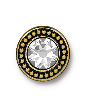 TierraCast : Button - 12 x 12mm, 2.4mm Loop, Beaded Bezel with Swarovski SS34 Crystal, Antique Gold