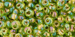 TOHO - Magatama 3mm : Gold-Lined Rainbow Peridot