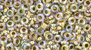 TOHO - Demi Round 8/0 3mm : Gold-Lined Rainbow Crystal