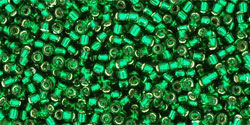 "Round 15/0 Tube 2.5"" : Silver-Lined Green Emerald"