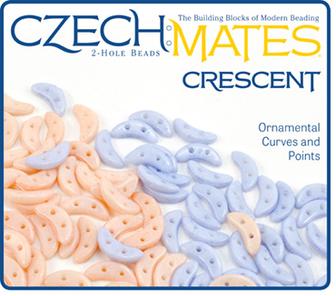 CzechMates 2-Hole Crescent Beads from Starman ColorTrends Fashion Serenity Rose Quartz