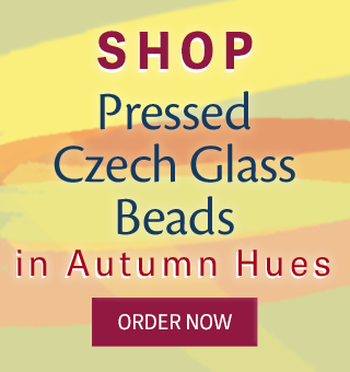 Shop pressed Czech glass beads in autumn hues